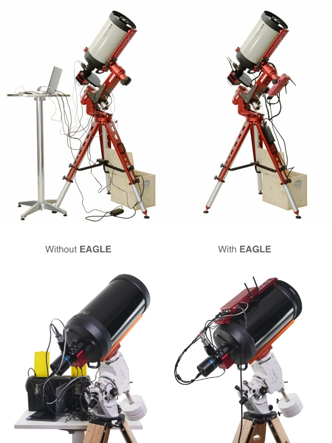 Improve your telescope cable management with EAGLE: the same telescope without the EAGLE (to the left) and with the EAGLE (to the right)
