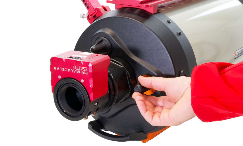 Focusing systems for telescopes: with an SC type telescope, you can use the stock focuser to roughly focus and the ESATTO to precisely focus your telescope, both for visual use and astrophotography