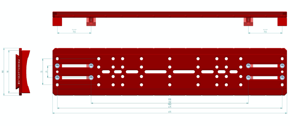 Piastra stile Losmandy PLUS con sagome per C9.25, C11, EdgeHD 9.25 e 11 e RASA 8