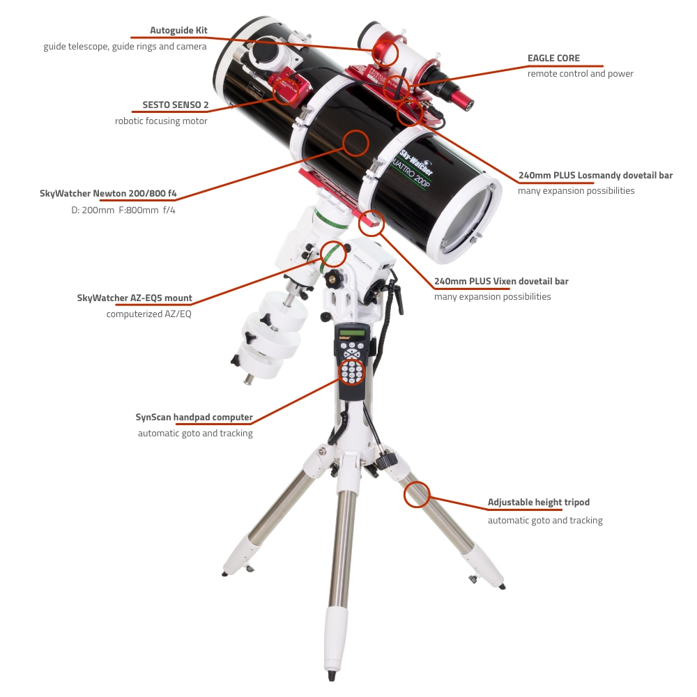 SkyWatcher Newton 200-800 computerized telescope with AZ-EQ5 and EAGLE CORE