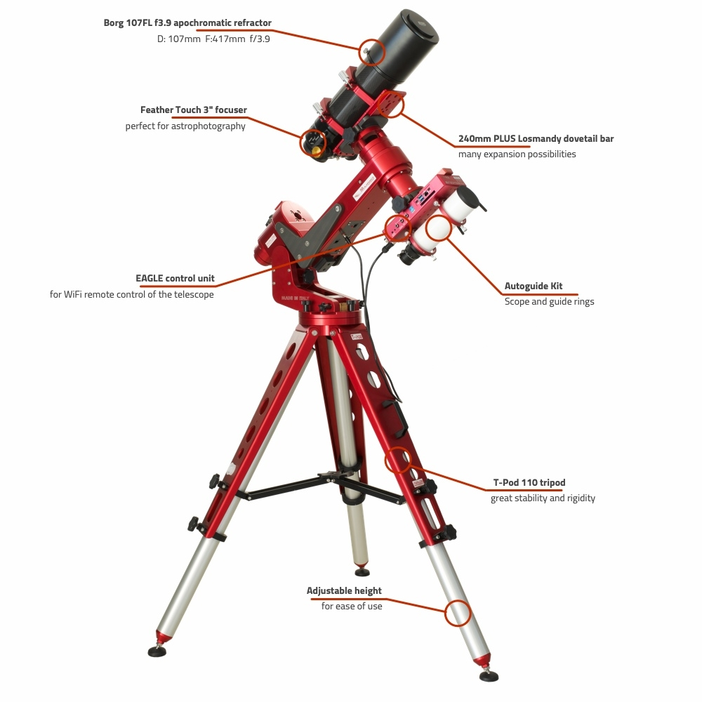 Borg 107FL f3.9 PLUS computerized refractor telescope with M-Uno and EAGLE