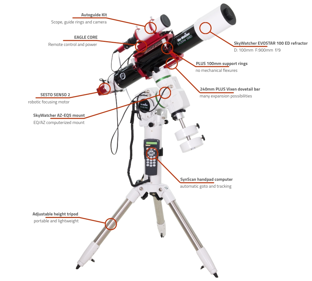 SkyWatcher EVOSTAR 100 ED computerized refractor telescope with AZ-EQ5 and EAGLE CORE