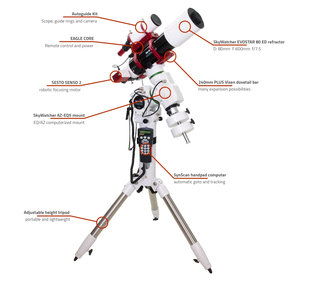 SkyWatcher EVOSTAR 80 ED computerized refractor telescope with AZ-EQ5 and EAGLE CORE