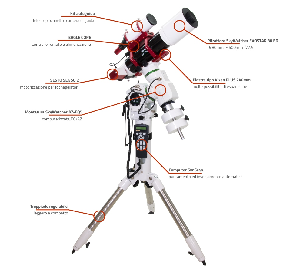 Telescopio rifrattore computerizzato SkyWatcher EVOSTAR 80 ED con AZ-EQ5 e EAGLE CORE